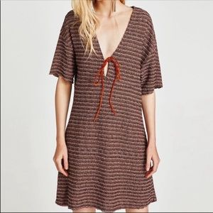 NWT Zara tweed dress with contrasting cord